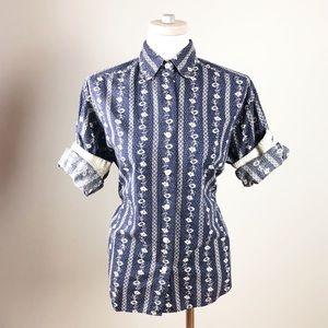 Vintage Floral Striped 100% Cotton Button Up Shirt